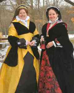 Baroness Constance and her sister, Lady Sarab, in gowns crafted by Lady Sarab