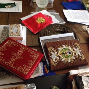 ....Goldwork, with pearls, were featured at the Beginning Goldwork Embroidery class.