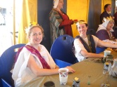 Her Majesty, Queen Anna Leigh, and Her Majesty of the East enjoy the Queens' Tea, Photo by Mistress Hilderun Hugelmann