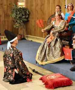 Queen Morgen with her Captain of the Guard, Baron Ogami no Arashimoto Shirou. Photo by Master Alaxandair Ó Conchobhair.