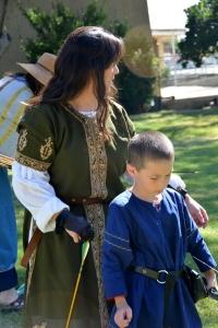 Sayako Enoki with her son Nicholas on the archery range.