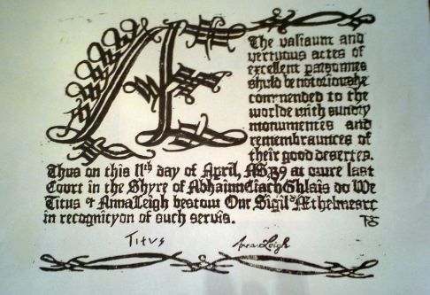 Sigil scrolls woodblock printed by Mistress Fredeburg von Katzenellenbogen. Photo by Arianna.