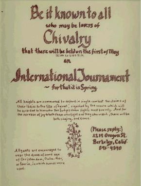 The flyer for the first SCA tournament, courtesy of the West Kingdom.