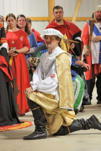 Don Orlando is made Æthelmearc's second Master of Defense. Photo by THLady Sophie Davenport.