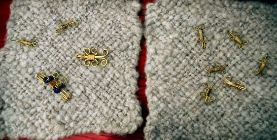 Viking wire weaving clasps by Baroness Betha Symonds. Photo by Mistress Rowena ni Dhonnchaidh.