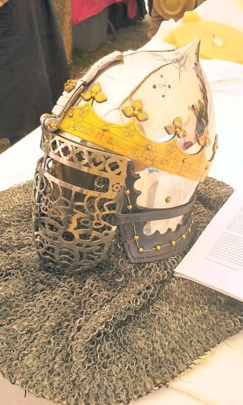 Ducal Helmet by Lord Enzo de Pazzi. Photo by Mistress Arianna of Wynthrope.