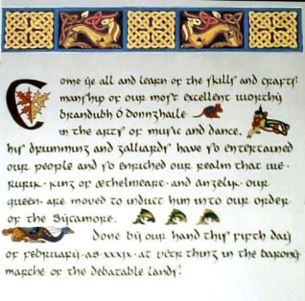 A Sycamore scroll created by Countess Aidan. Photo by Mistress Hilderun Hugelmann.