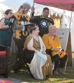 Baron Liam and Baroness Constance at Pennsic 44. Photo by Mistress Arianna of Wynthrope.