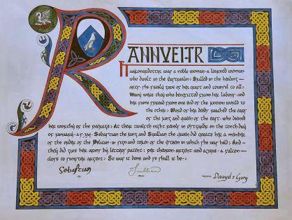 Pelican scroll for Mistress Rannveigr Haakonardottir, created by Countess Aidan. Photo courtesy of Sir Alexander.