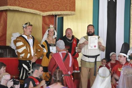 Baron Snaebjorn receiving   . Photo by Baron Steffan.
