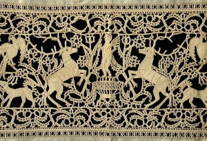 Bobbin Lace: The Taming of Multitudes of Threads. An image from the historic lace slideshoe of the Laces Museum at Http://Lacismuseum.org