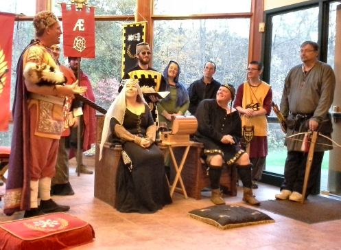 Imperator Tindal addresses the Baron and Baroness about their planned invasion of King's Crossing. Photo by Arianna.