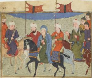Caliph Al-Musta'sim from an Afghanistan manuscript (BnF. Supplément Persan 1113) dated about 1430-1434, probably by Sayf Al-Vahedi.