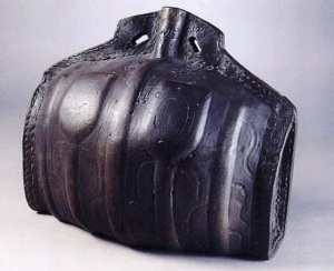 Tudor costrel (leather flask) from the Ashmolean Museum.