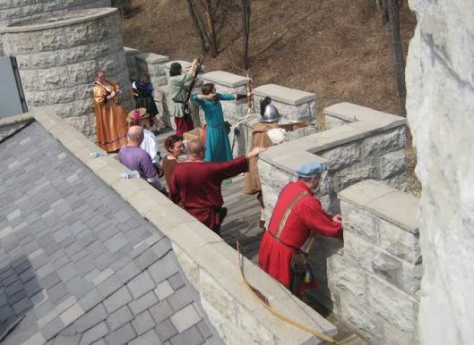 Archery on castle parapets