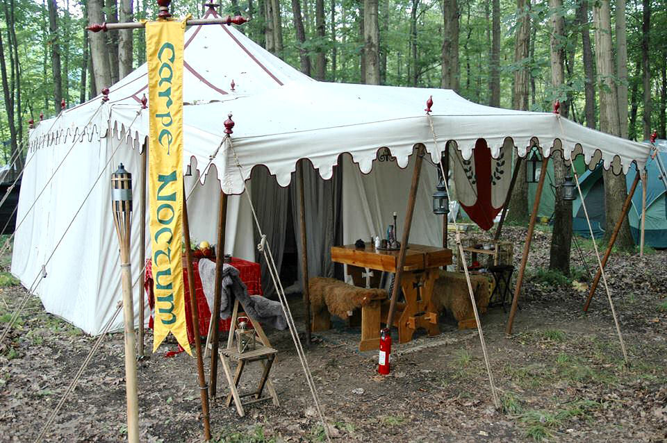 Marquee with fly THL Sheriff Viktor von Murdoch & Choosing a Period Pavilion | The Æthelmearc Gazette