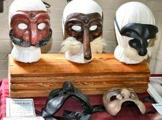 Pent commedia masks