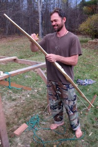 Instructor Sean marking the belly of my bow.