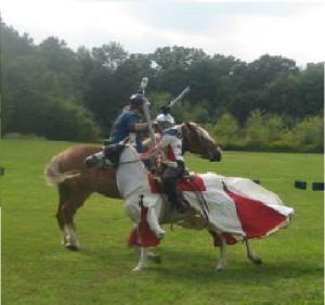THL Aaliz fighting Mistress Arabella on horseback.