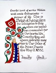 Bekah of Sylan Glen's Silver Sycamore scroll, illumination by Mistress Graidhne ni Ruaidh, calligraphy by Mistress Antoinette de la Croix.