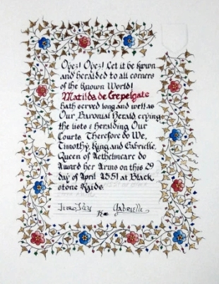 Matilda's AoA scroll by Lady Vivienne of Yardley and Isabella de Montoya.