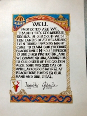 Nikoli's Golden Alce scroll by Luca, Lady Rignach, and Mistress Graidhne.