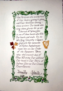 Lord Tiberius' Sycamore scroll, illumination by Lady Vivienne of Yardley, calligraphy by Mistress Antoinette de la Croix.