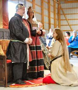 Lady Rebekah receives a Keystone. Photo by Lady Aine.