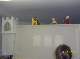 "A scene from ""The Peasant's Clever Daughter"" done with rod puppets"