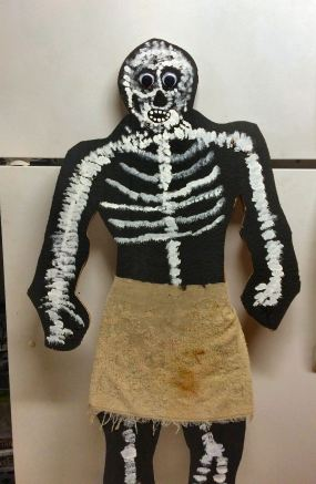 skeleton painted with loincloth