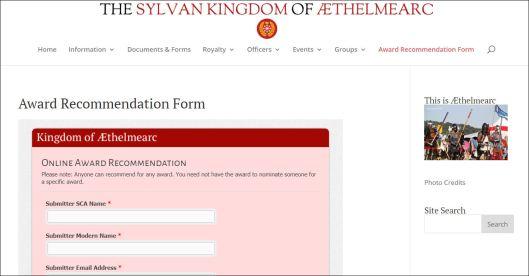 Award Rec webpage
